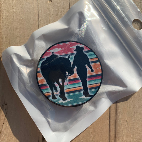 "Barrel Racer Western Horse ""Pop Your Livestock"" Phone Holders"