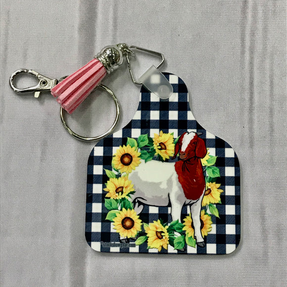 Boer Goat Ear Tag Shaped Key Tags-Gingham Sunflowers