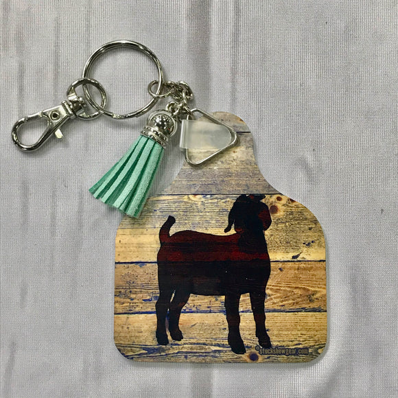 Boer Goat Ear Tag Shaped Key Tags-Wood Burned