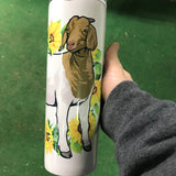 20oz. Skinny Sunflower Boer Goat Tumblers with Sealing Lid and Metal Straw