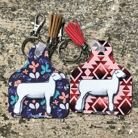 Lamb Ear Tag Key Fobs with Tassel-Dorset-Club Lamb