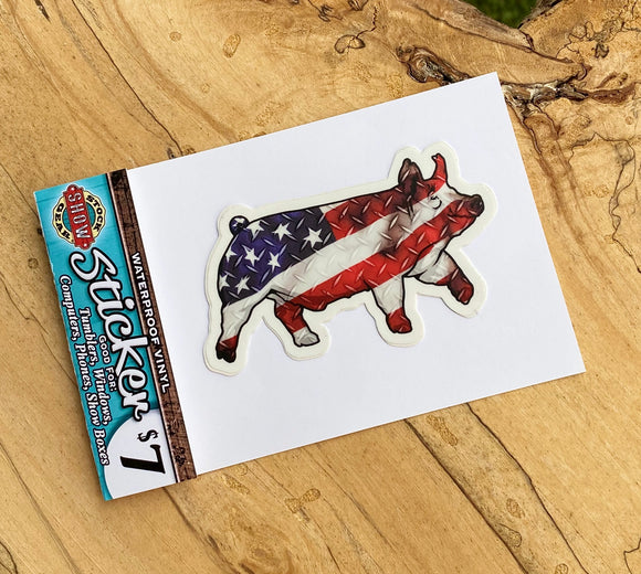 USA Flag Show Pig Stickers
