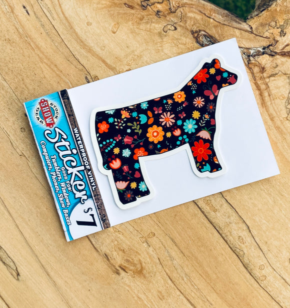 Black Floral Heifer Sticker