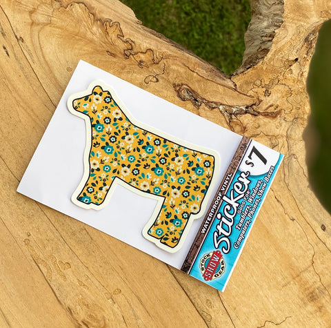 Yellow Floral Heifer Sticker