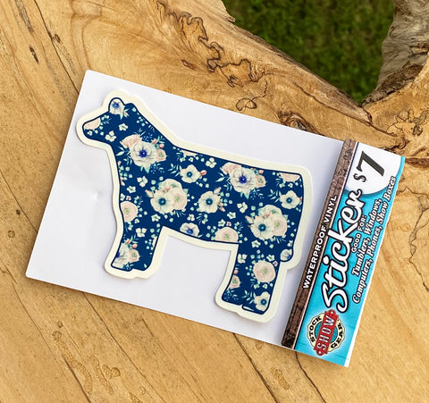 Blue Floral Heifer Sticker