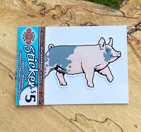 Blue Butt Pig Stickers