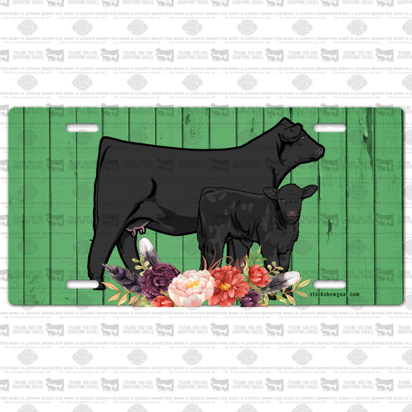 Black Angus Cow Calf Pair License Plate-Green Wood