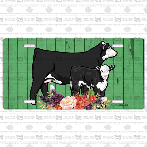 Black Hereford Cow Calf Pair License Plate-Green Wood