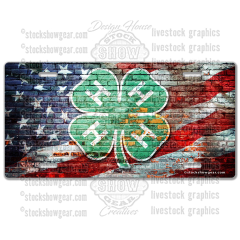 American Flag Brick 4-H License Plate