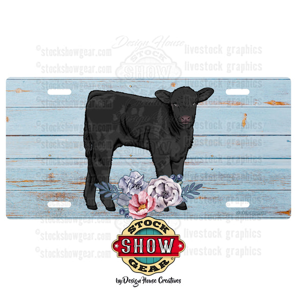 Soft Blue Floral Livestock License Plate-Cattle