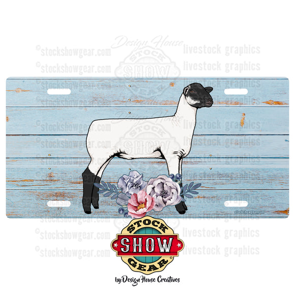 Soft Blue Floral Livestock License Plate-Sheep-Goat