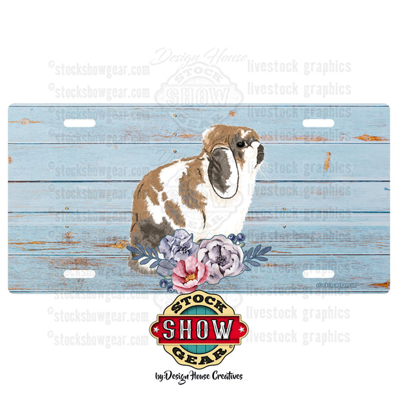 Rabbit Soft Blue Floral License Plate