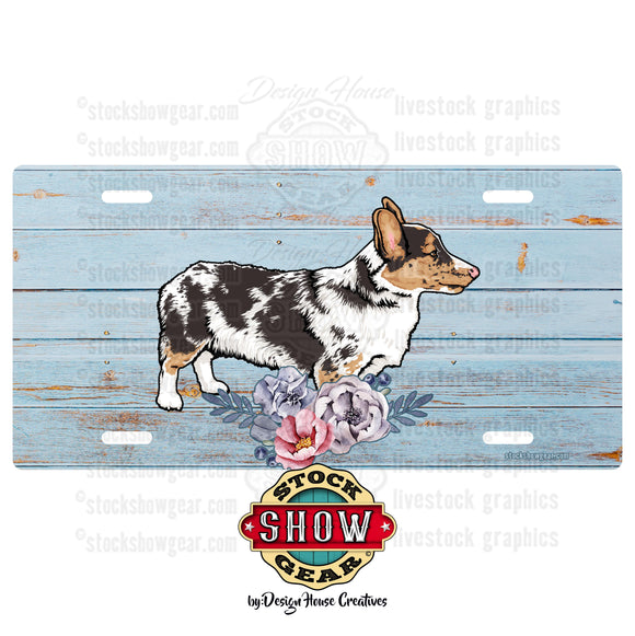 Corgi Soft Blue Floral License Plate