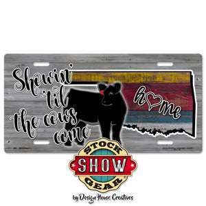 Oklahoma Showin' 'til the Cows Come Home Multi Colored Wood Print License Plate