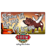 Oklahoma Showin' 'til the Pigs Fly Home License Plate
