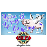 Oklahoma Showin' 'til the Pigs Fly Home Cloud Print License Plate