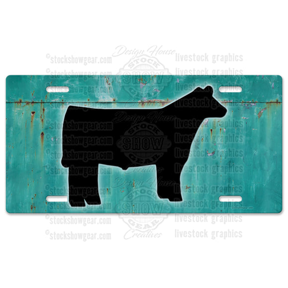 Show Steer Turquoise Metal Look License Plate