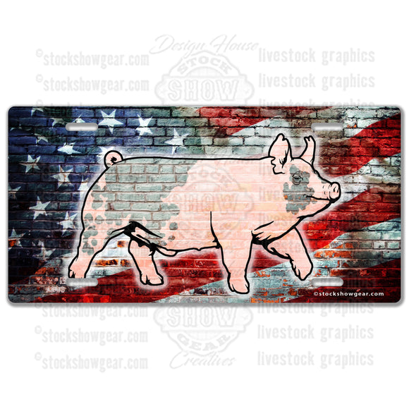 American Flag Brick Pig Hampshire License Plate
