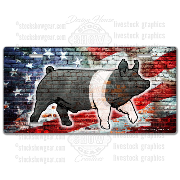 American Flag Brick Pig License Plate Designs