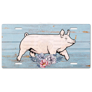 Yorkshire Pig Livestock License Plate-Floral Design