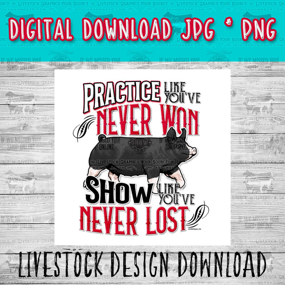 Berkshire Pig Practice Livestock Graphic - Instant Digital Download