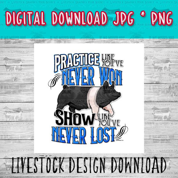 Hampshire Pig Practice Livestock Graphic - Instant Digital Download