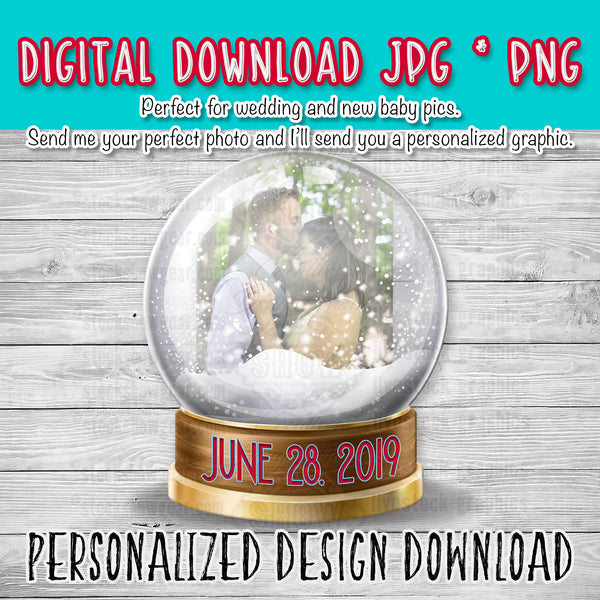 Personalized Snow Globe Photo Digital Download