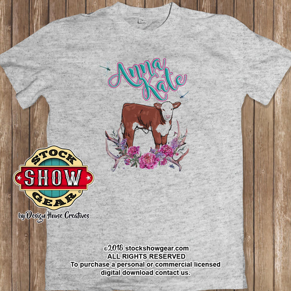 Personalized Hereford Calf Vintage Print Livestock T-Shirt