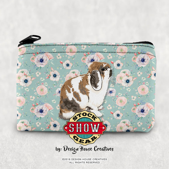Floral Holland Lop Rabbit Coin Purse