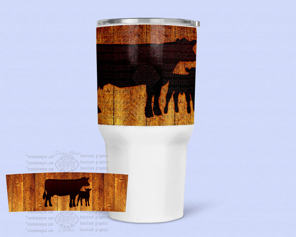 30oz. Stainless Steel Tumbler - Cow/Calf Rich Wood