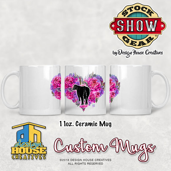 Floral Heart Livestock Cattle Mug