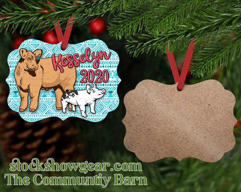 Cow and Pig Ornament Personalized