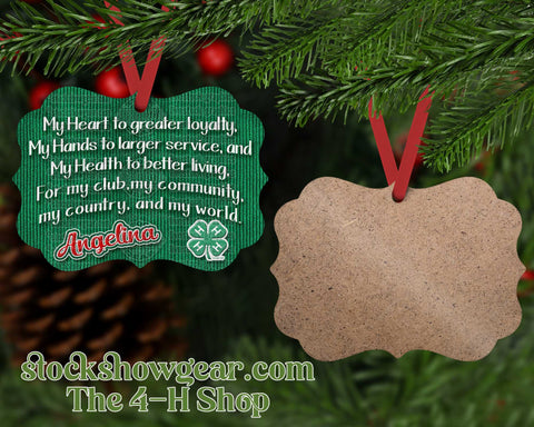 4-H Personalized Ornament - Pledge Corduroy