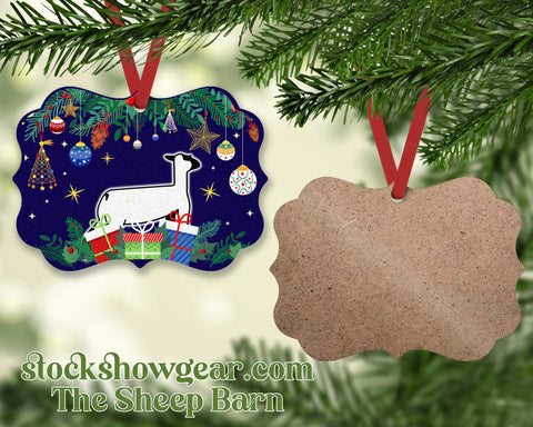 Show Lamb Wood Christmas Ornament – Package Scene