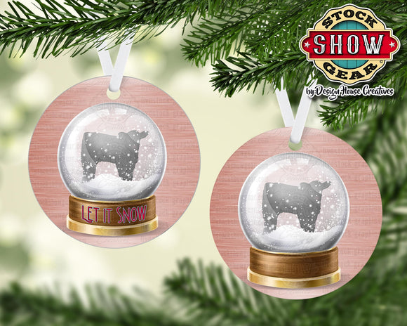 Cattle Snow Globe Ornament