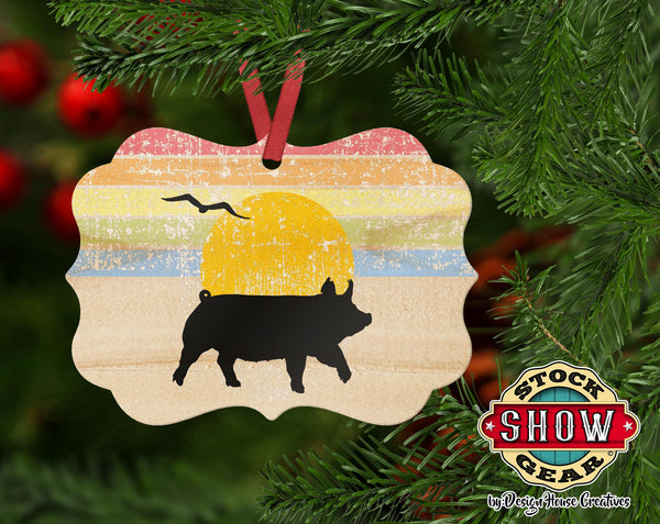 Retro Livestock Design Natural Wood Ornament