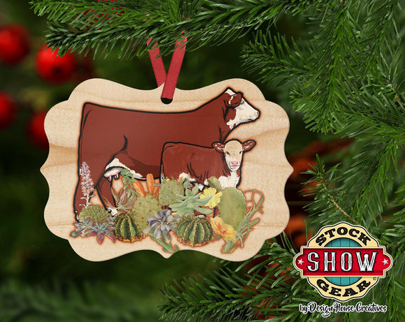 Natural Wood Hereford Cow Calf Ornament