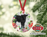Calf Poinsettia Christmas Tree Ornament