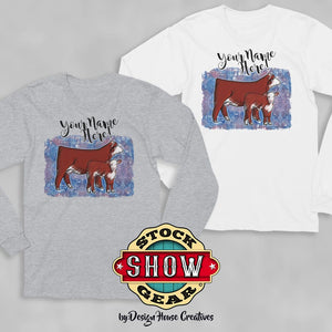 Long Sleeve Hereford Cow Calf Shirt