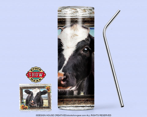 Dairy Cow Skinny Tumbler with Sealing Lid and Metal Straw-20oz