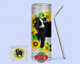 20oz. Skinny Sunflower Cattle Tumbler with Sealing Lid and Metal Straw