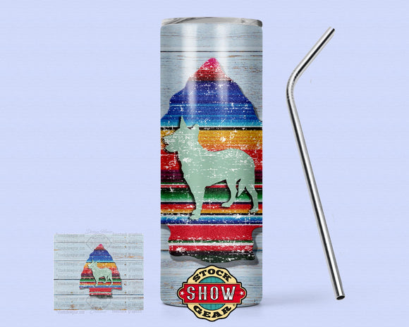 20oz. Skinny Serape Arrow Tumbler with Sealing Lid and Metal Straw