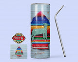 Lamb Serape Arrow Tumbler with Sealing Lid and Metal Straw - 20oz.