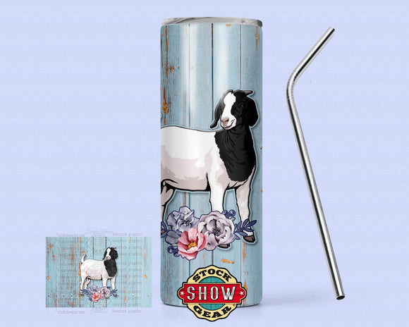 20oz. Skinny Goat Tumbler with Sealing Lid and Metal Straw