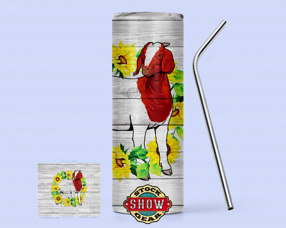 20oz. Skinny Sunflower Boer Goat Tumbler with Sealing Lid and Metal Straw
