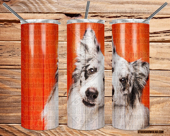Border Collie Tumbler Skinny Tumbler with Straw