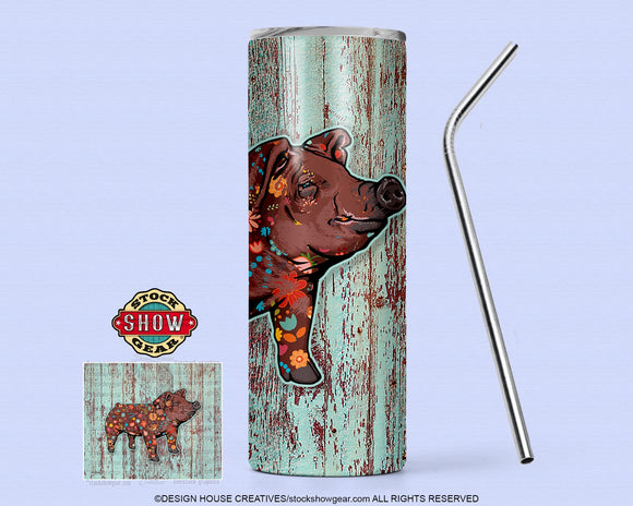 Floral Duroc Pig Tumbler with Sealing Lid and Metal Straw-20 oz. Skinny