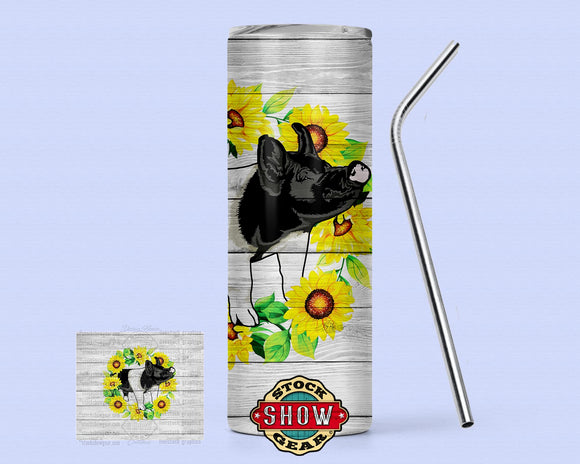 Sunflower Pig Tumblers with Sealing Lid and Metal Straw