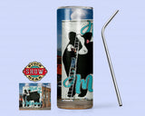"Black Baldy 'Not in the Mood"" Tumbler with Sealing Lid and Metal Straw-20 oz. Skinny"