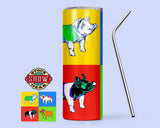 20oz. Skinny Pop Art Tumbler with Sealing Lid and Metal Straw